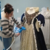 Putting the finishing  touches to Miranda Richardson's costume from 'Young Victoria'.
