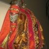Orange Silk Gown Shoulder Detail