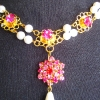 Rose Jewel and Pearl Necklace