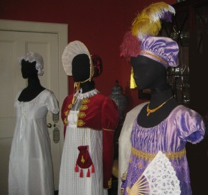 Regency Mannequins wearing Underwear, an Afternoon Dress and a Lilac Silk Evening Gown