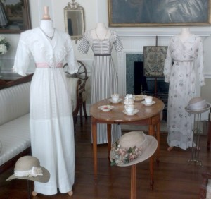 Lady Edith lace pointed collar gown, , Lady  Mary stripe dress and Lady Sybil cream dress with long sleeves (left to right)