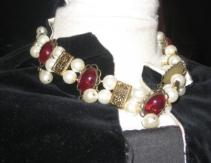 Catherine Howard Velvet Partlet and Necklace